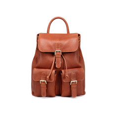 TheCultured Front Pocket Leather Backpack In Tan