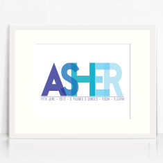 Boys personalised name birth print