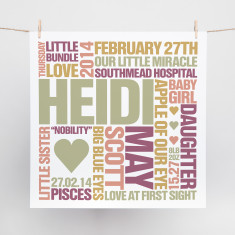 Classic word block personalised print