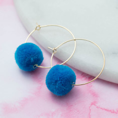 Turquoise blue pompom hoops