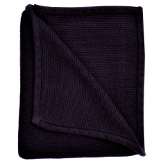 Wave knit luxury cotton baby blanket in navy