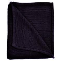 Wave knit luxury cotton baby blanket in navy