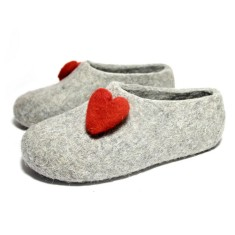 Organic Wool House Slippers Love Hearts