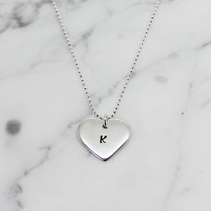 Personalised small love heart sterling silver necklace