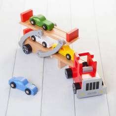 Personalised Red Folding Wooden Toy Car Transporter