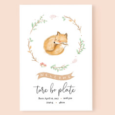 Personalised Baby Fox Birth Announcement Art Print