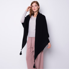 Oversized triangle shawl with tassel in black