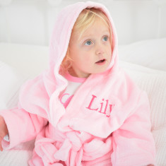 Personalised Soft Baby/Child's Dressing Gown In Pink