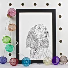 Spaniel Dog Line Portrait Print