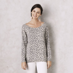 Animal Print Cashmere Wool Sweater in Grey