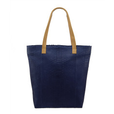 Midnight blue python & lambskin leather shopper tote