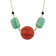 Basket ball and colourful stone necklace