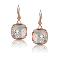 Crystal & Rose Gold Vermeil Cushion Drop Earrings