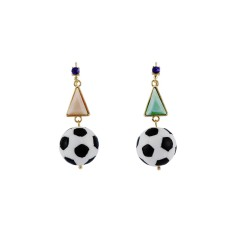 Soccer ball and colourful stone earrings