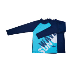 Classic long sleeve rashie for boys in Wave Aquamarine