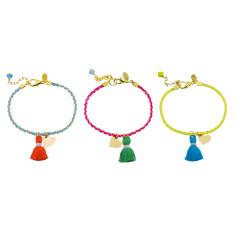 Metallic neon tassel bracelet