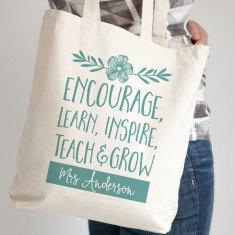 Personalised Learn Teach Grow Tote Bag - Teacher Gift