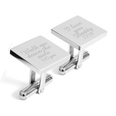 Engraved Father of the Bride customised cufflinks with date & time