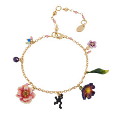Flower, frog and charms bracelet