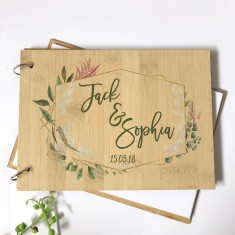 Personalised Bamboo wood Mr & Mrs native wreath wedding guest book