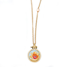 Long petite embroidery hoop necklace in sunflower