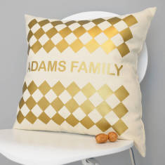 Personalised Metallic Gold Geometric Cushion