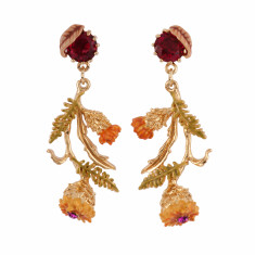 Yellow Flowers With Golden Leaves Earrings