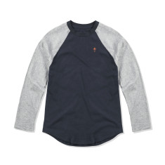 Boys Baseball Tee in Navy & Grey