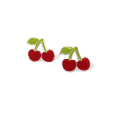 a small world Stud Earrings - Cherries