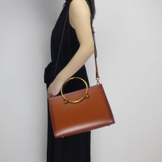 Brown Leather top-handle shoulder bag handbag