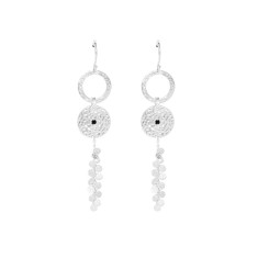 Grace Long Disc Earrings in Sterling Silver