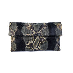 Camo motif python leather classic foldover clutch bag