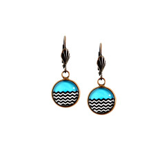 Vintage style lever-back copper earrings in azure