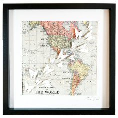 The world part 1 America framed origami art work