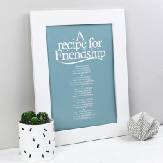 Recipe for friendship personalised poem print
