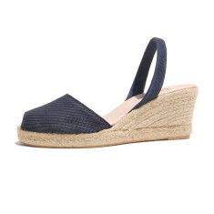 Teresa suede leather sandals in navy