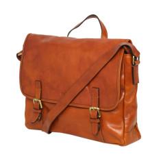 Italian made messenger bag in tan leather