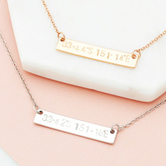Personalised hand stamped co-ordinates location bar necklace in rose gold or silver