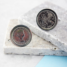 Sixpence 50th birthday coin cufflinks