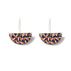 Tropics drop earrings in black, baby pink and rose gold