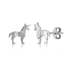 Unicorn Origami Stud Earrings
