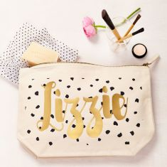Personalised Black And Gold Dot Pouch