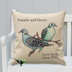 Personalised love birds colour in cushion