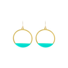 Green circle deco earrings
