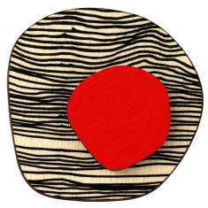 Retro red spot on black lines brooch