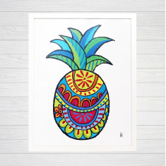 Pineapple framed art print (various designs)