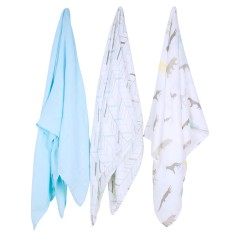 Weegoamigo bamboo ark adventure muslin swaddle wraps (3 pack)