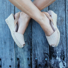 Morena braided leather sandals in beige
