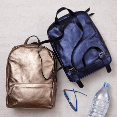 Metallic Leather backpack In Blue Or Pewter