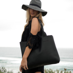Black Leather Poppins Bag